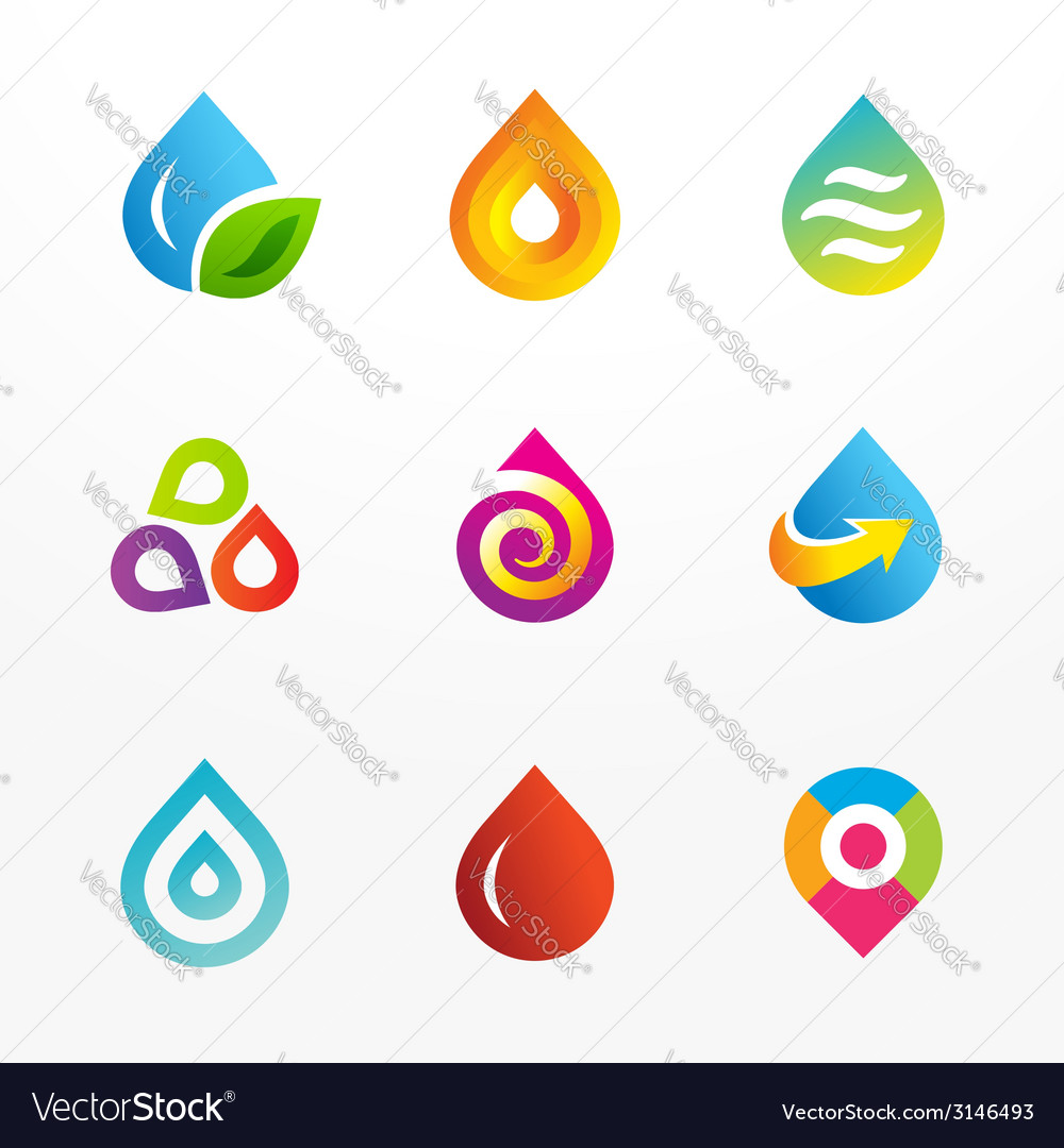 Water drop symbol logo icon set vector | Price: 1 Credit (USD $1)
