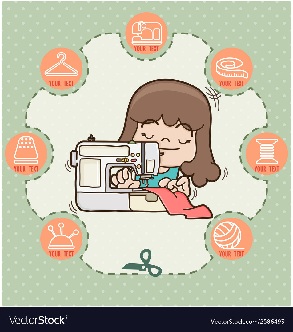 Young girl sewing new dress with sewing machine vector | Price: 1 Credit (USD $1)