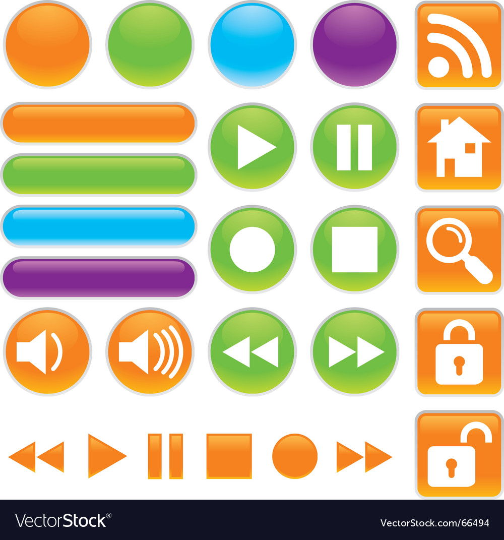 Audio and video buttons vector | Price: 1 Credit (USD $1)