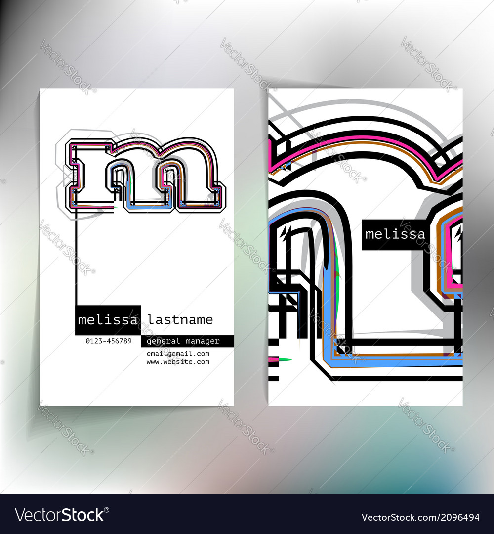 Business card design with letter m vector | Price: 1 Credit (USD $1)