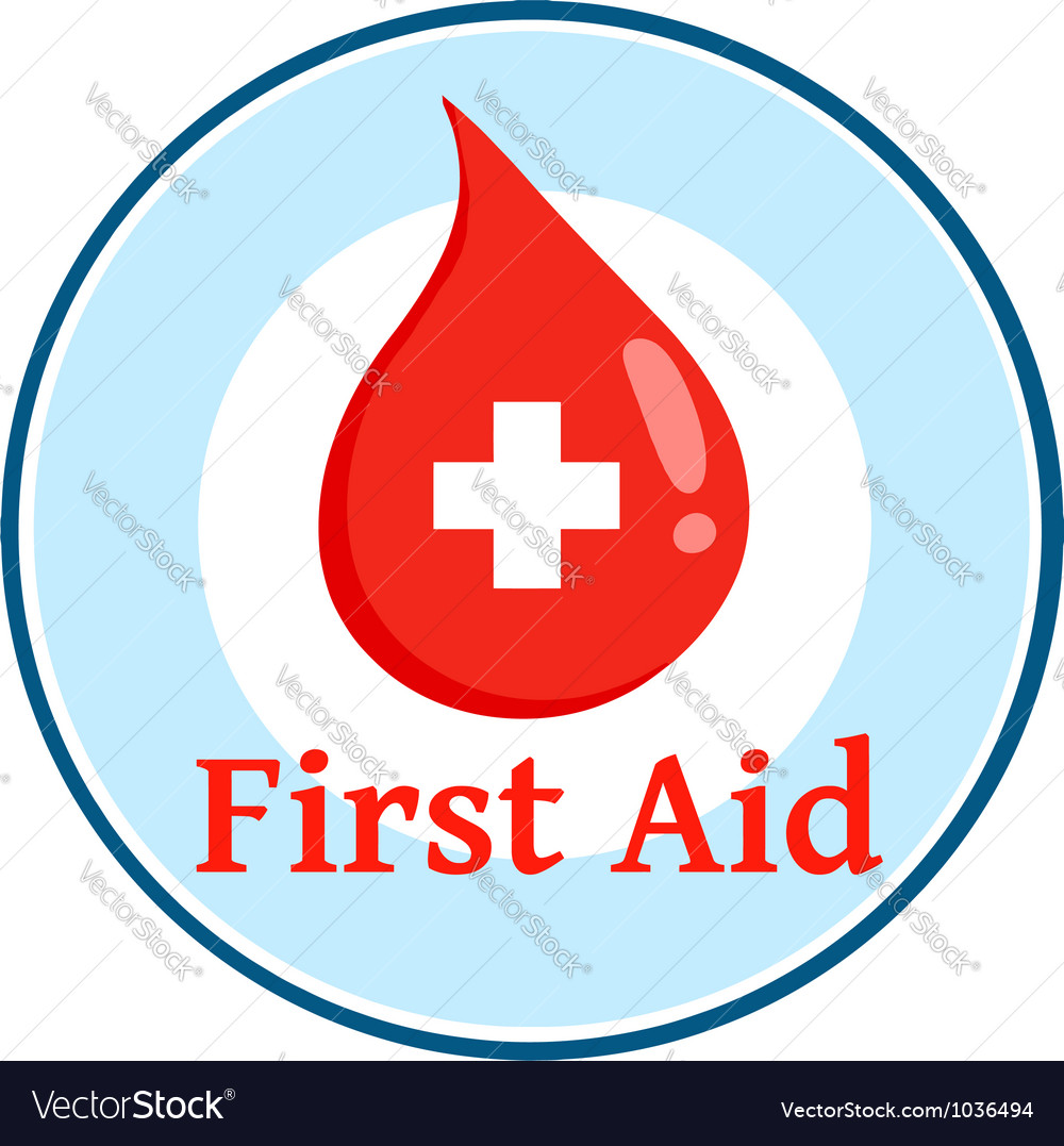First aid blood drop circle vector | Price: 1 Credit (USD $1)