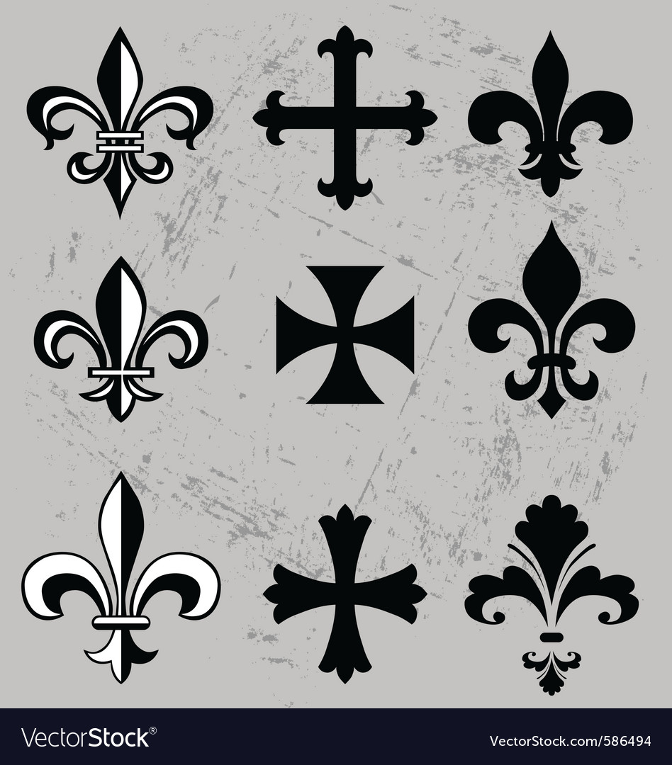Fleur de lis and crosses vector | Price: 1 Credit (USD $1)