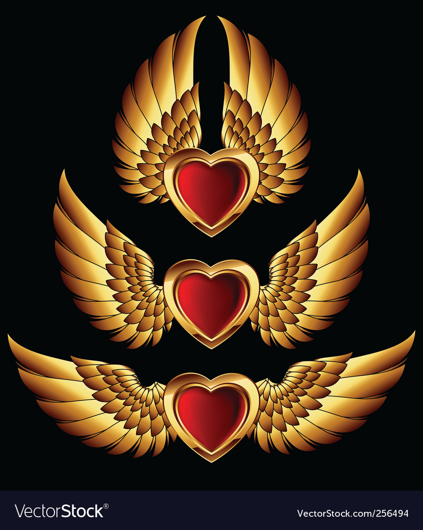 Heart forms with golden wings vector | Price: 1 Credit (USD $1)