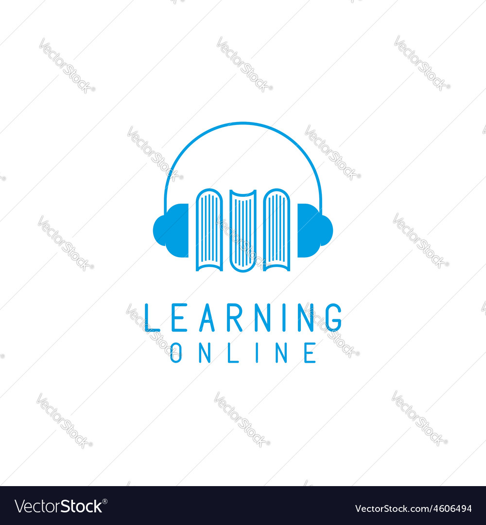 Online language learning logo speaking and books vector