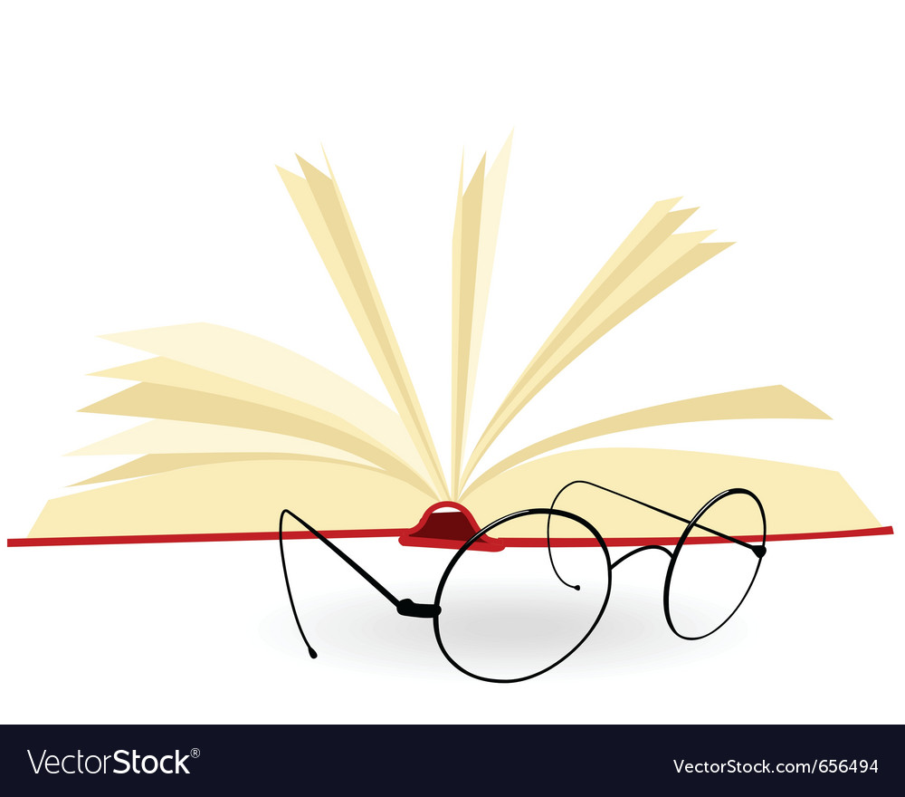 Opened book and spectacles on a white background vector | Price: 1 Credit (USD $1)