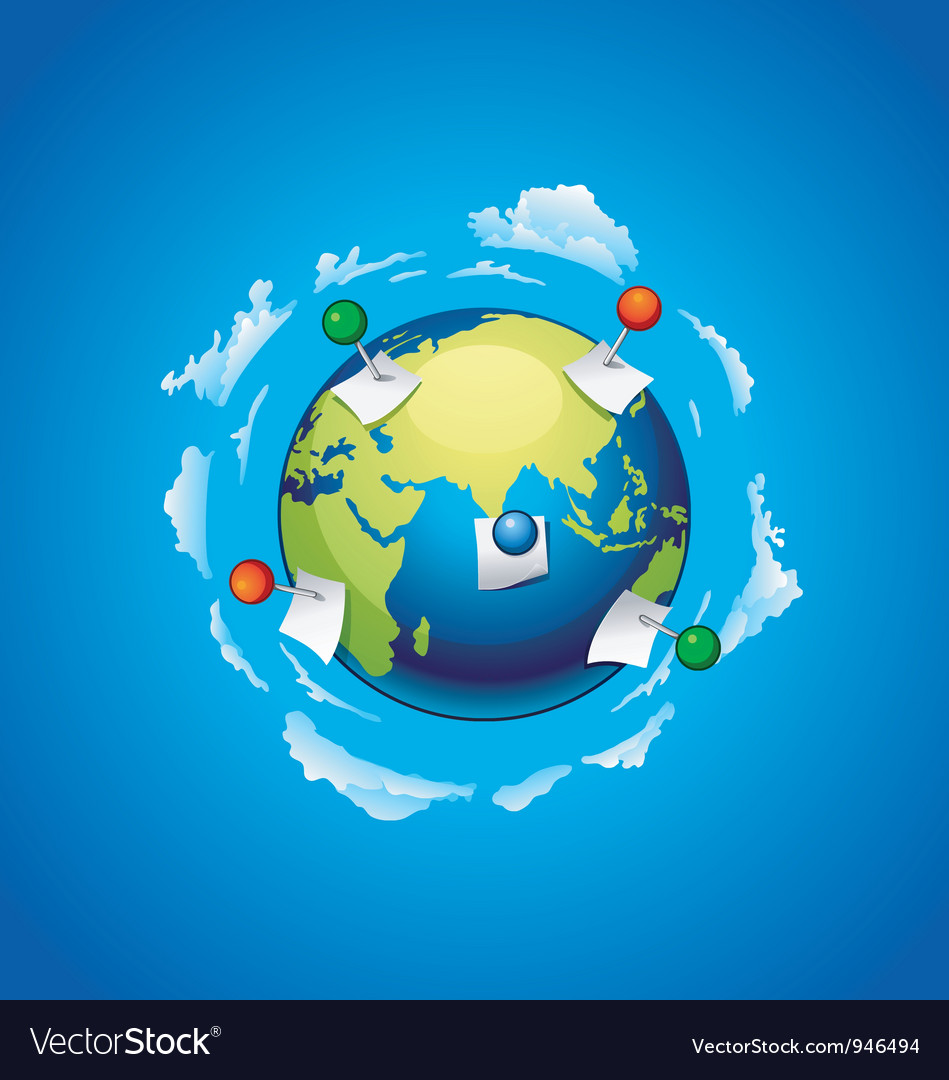 Planet earth with a note paper and pins vector | Price: 1 Credit (USD $1)