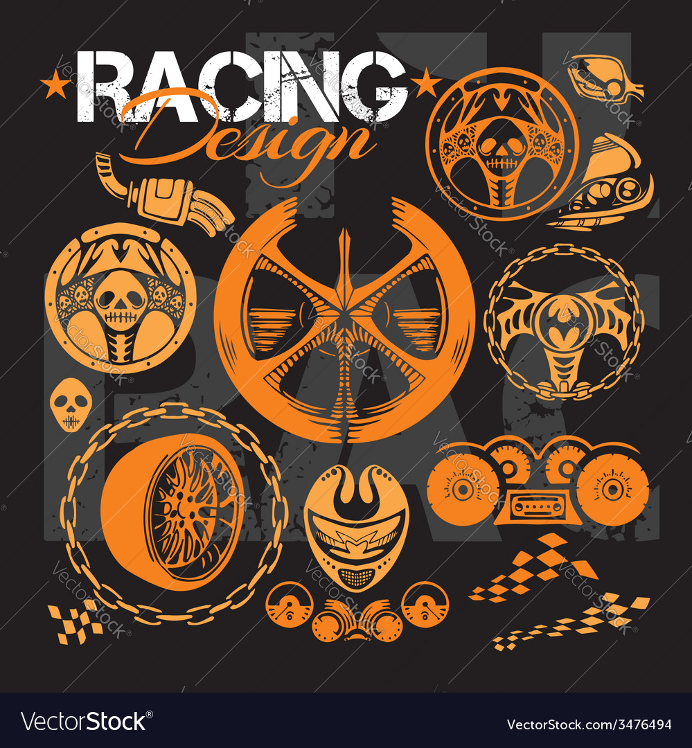 Racing design - elements for emblem vector | Price: 1 Credit (USD $1)