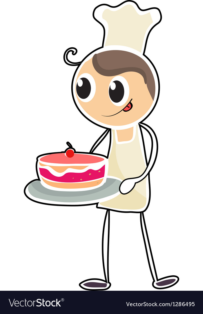 A baker holding a tray of cake vector | Price: 1 Credit (USD $1)