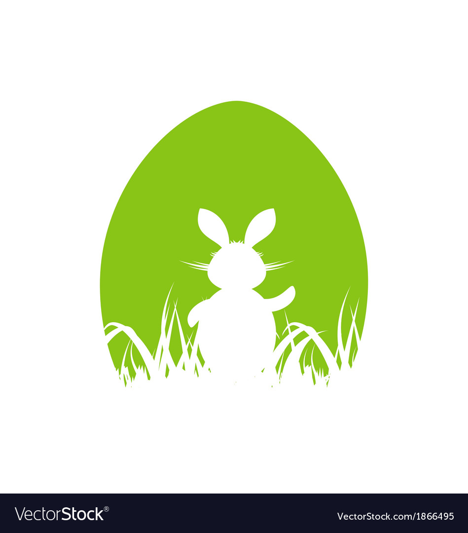 Cartoon easter poster with rabbit and grass vector | Price: 1 Credit (USD $1)