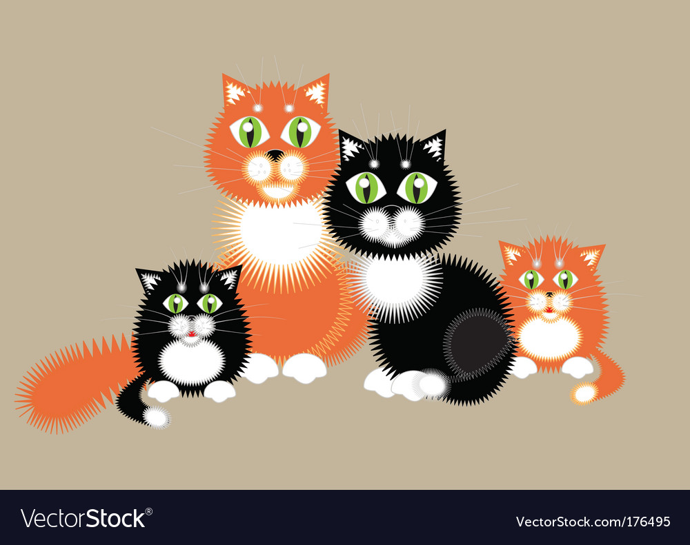 Family cats vector | Price: 1 Credit (USD $1)