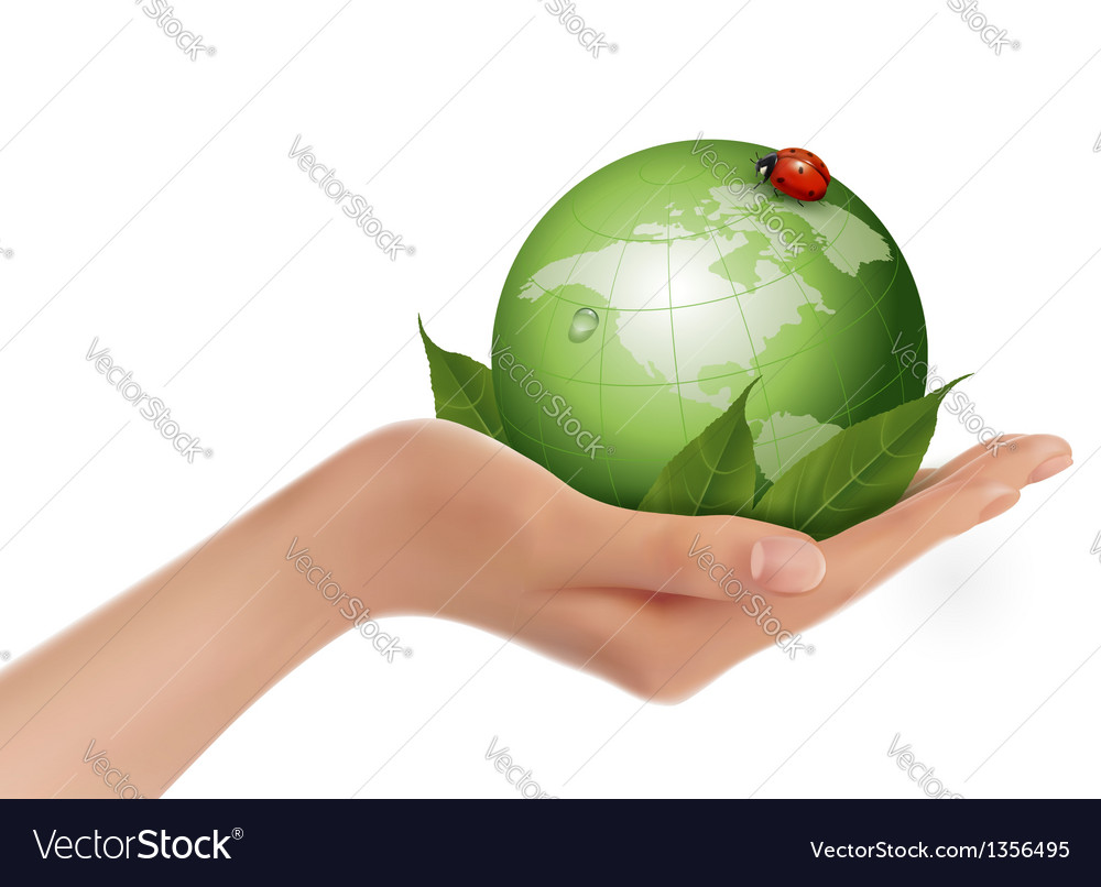 Green world and leaf have love bug in woman hand vector | Price: 3 Credit (USD $3)