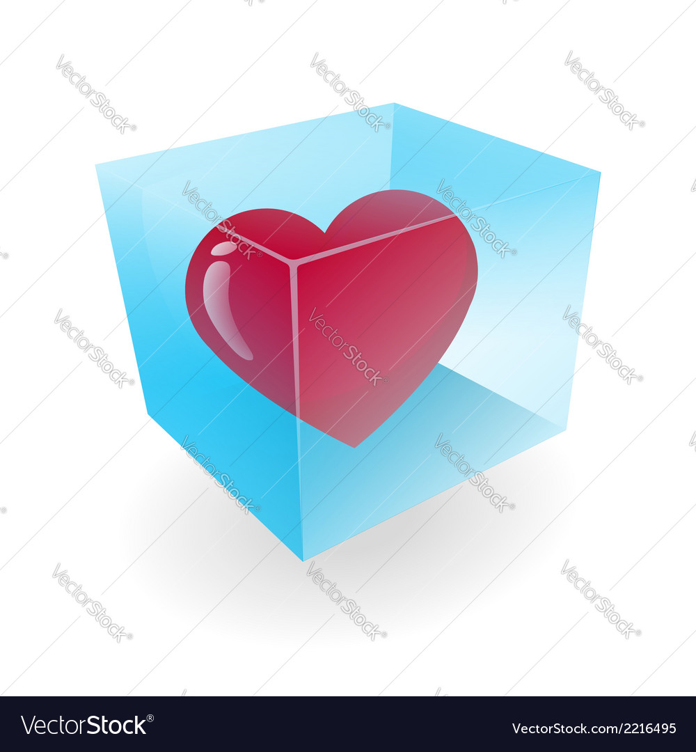 Heart in the ice cube vector | Price: 1 Credit (USD $1)