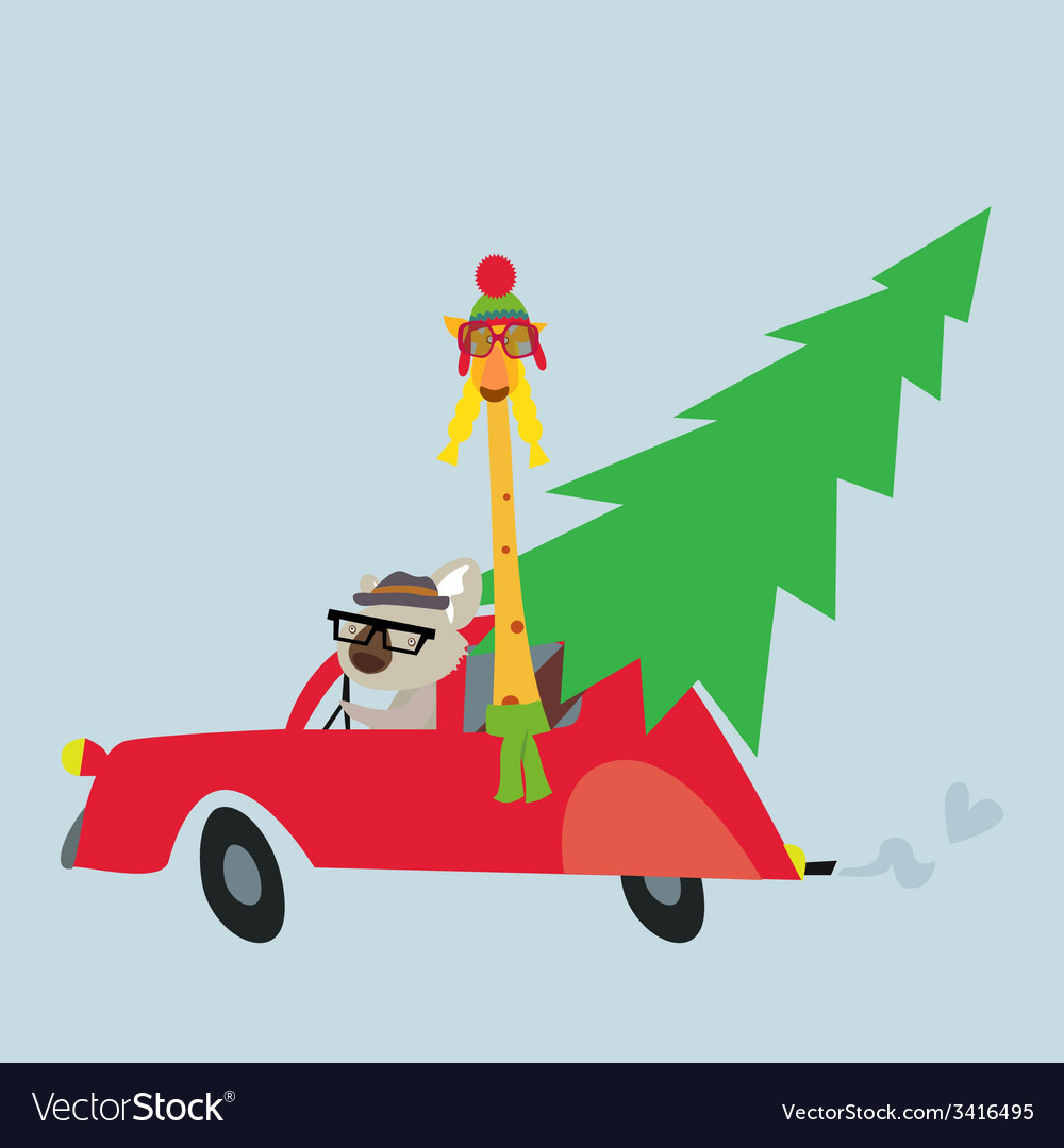 Holiday with koala and giraffe vector | Price: 1 Credit (USD $1)