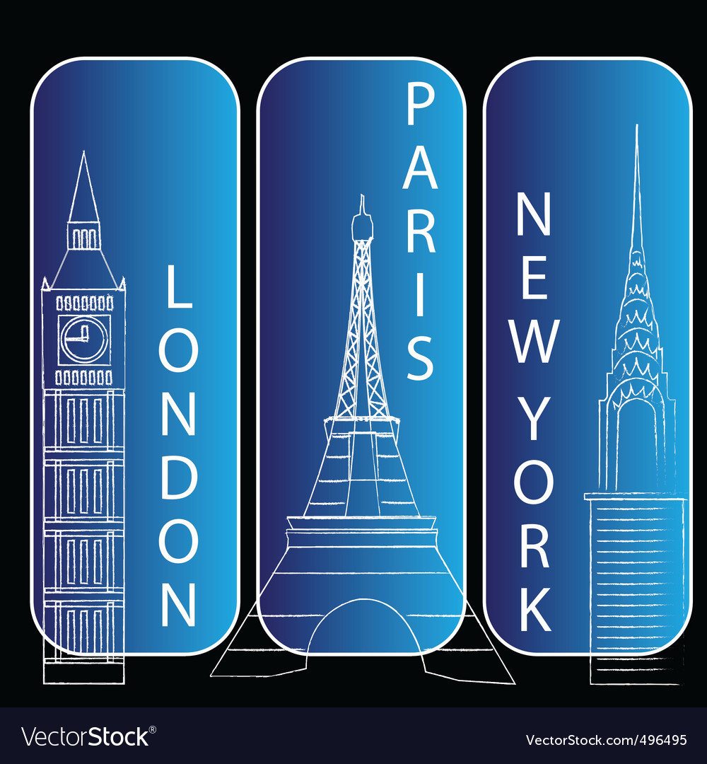 London new york and paris vector | Price: 1 Credit (USD $1)