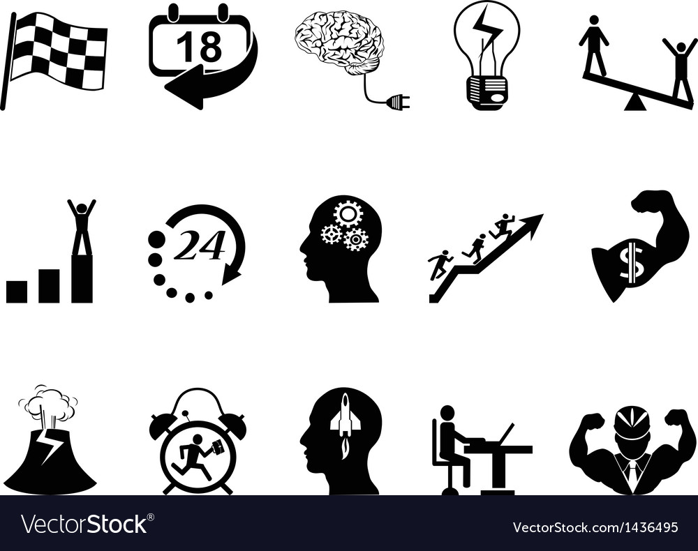 Productive at work icons vector | Price: 1 Credit (USD $1)