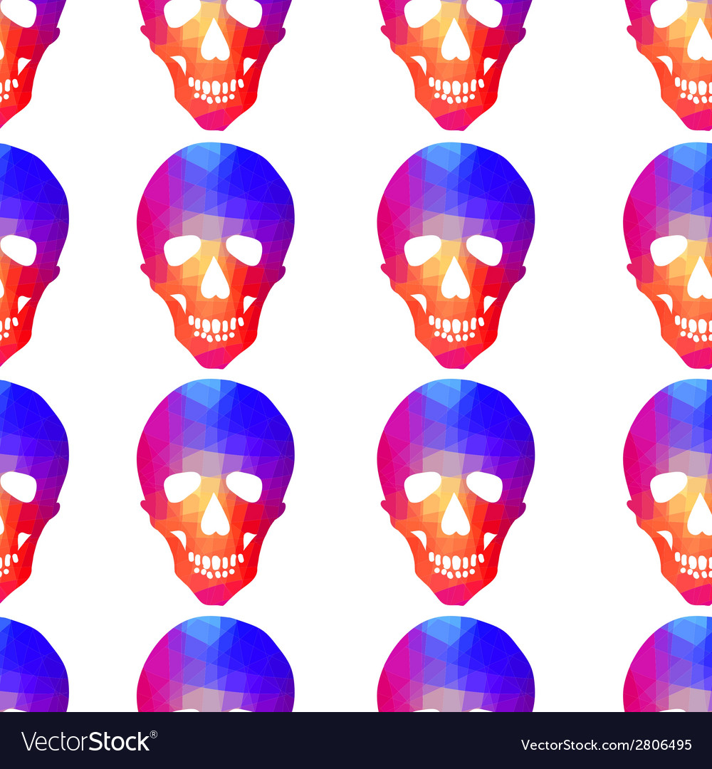 Seamless background with geometric skull vector   Price: 1 Credit (USD $1)