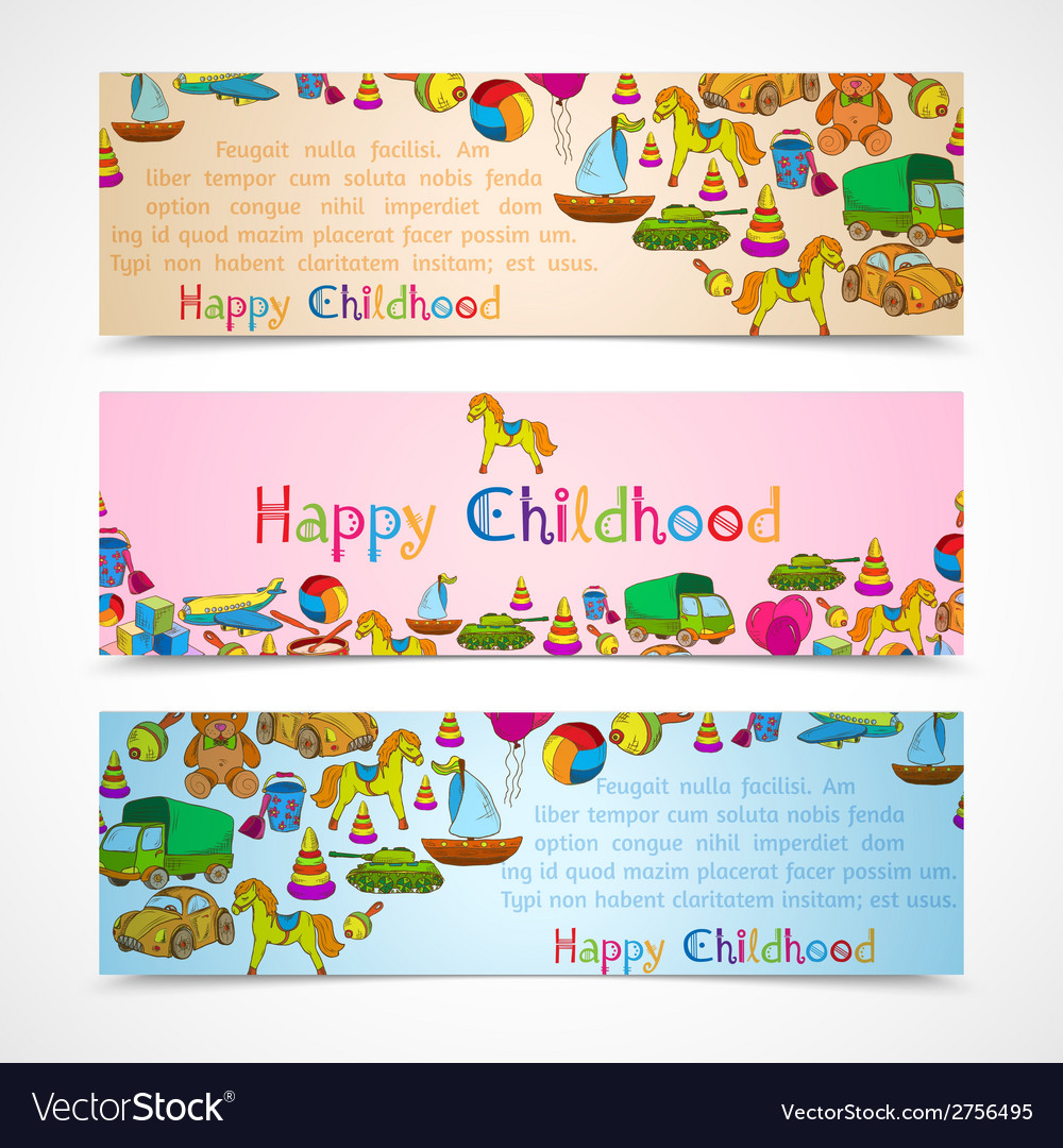 Toys banners horizontal set vector | Price: 1 Credit (USD $1)