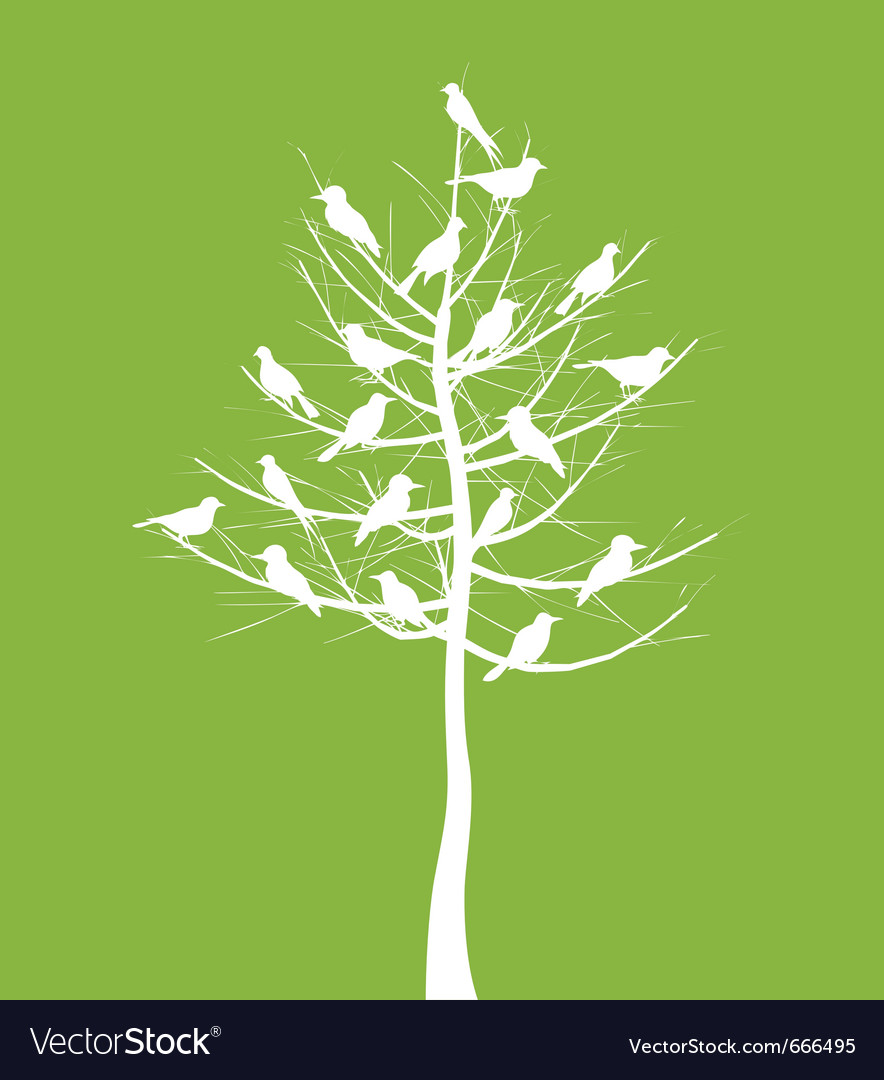 Tree of birds vector | Price: 1 Credit (USD $1)