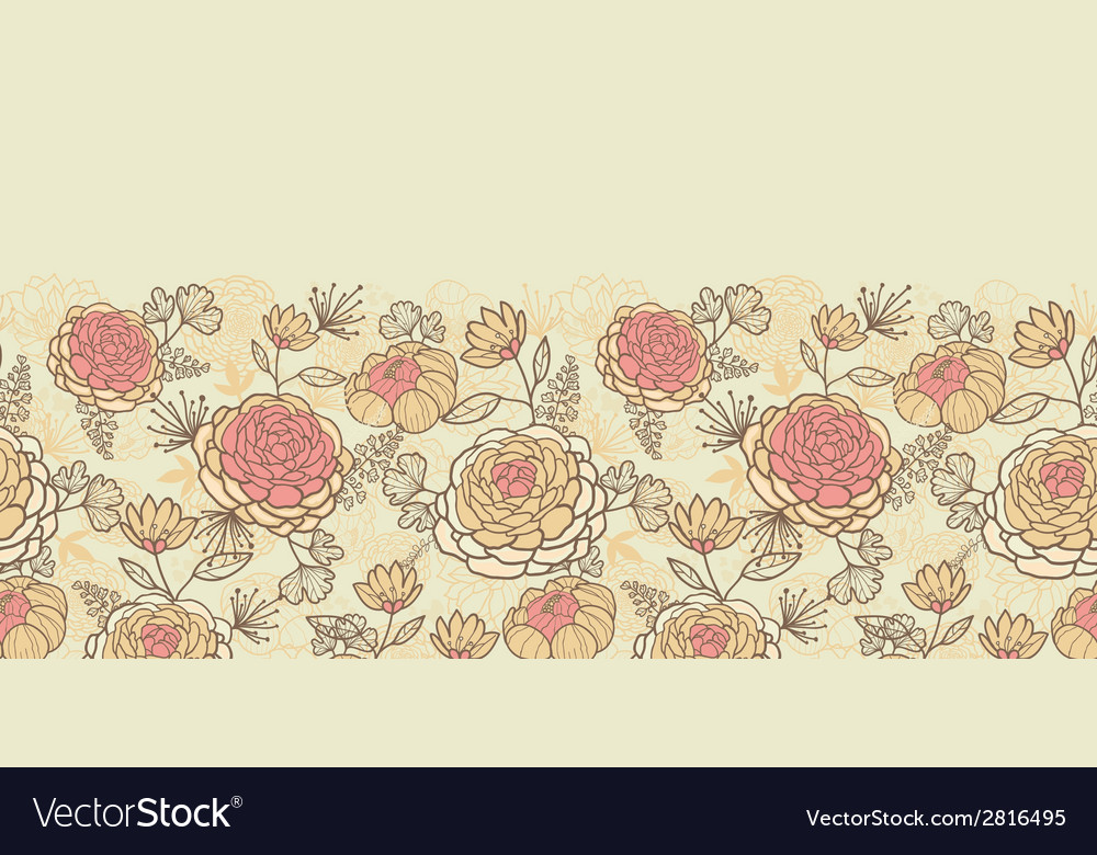 Vintage brown pink flowers horizontal seamless vector | Price: 1 Credit (USD $1)