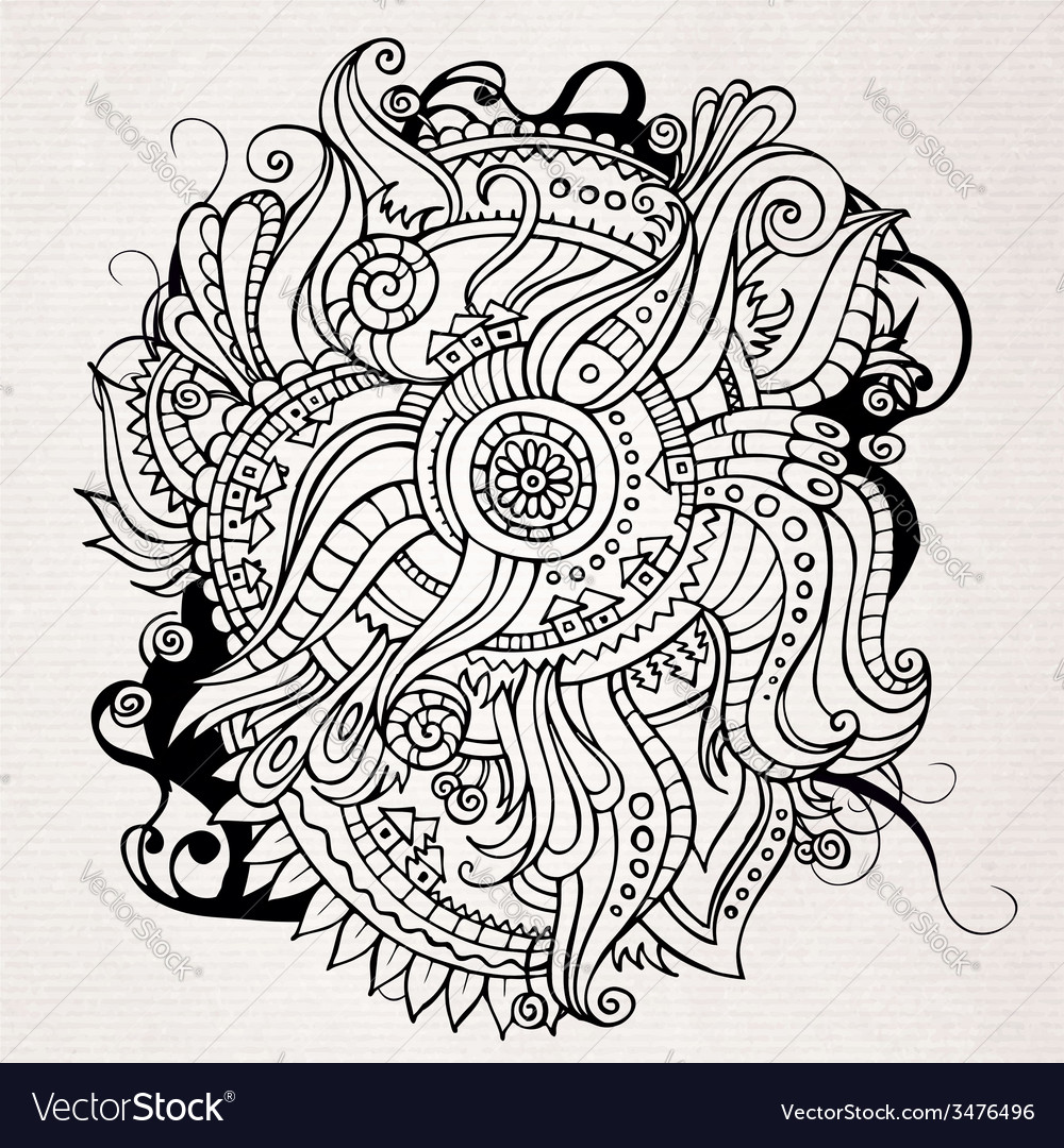 Abstract doodles decorative landscape vector | Price: 1 Credit (USD $1)