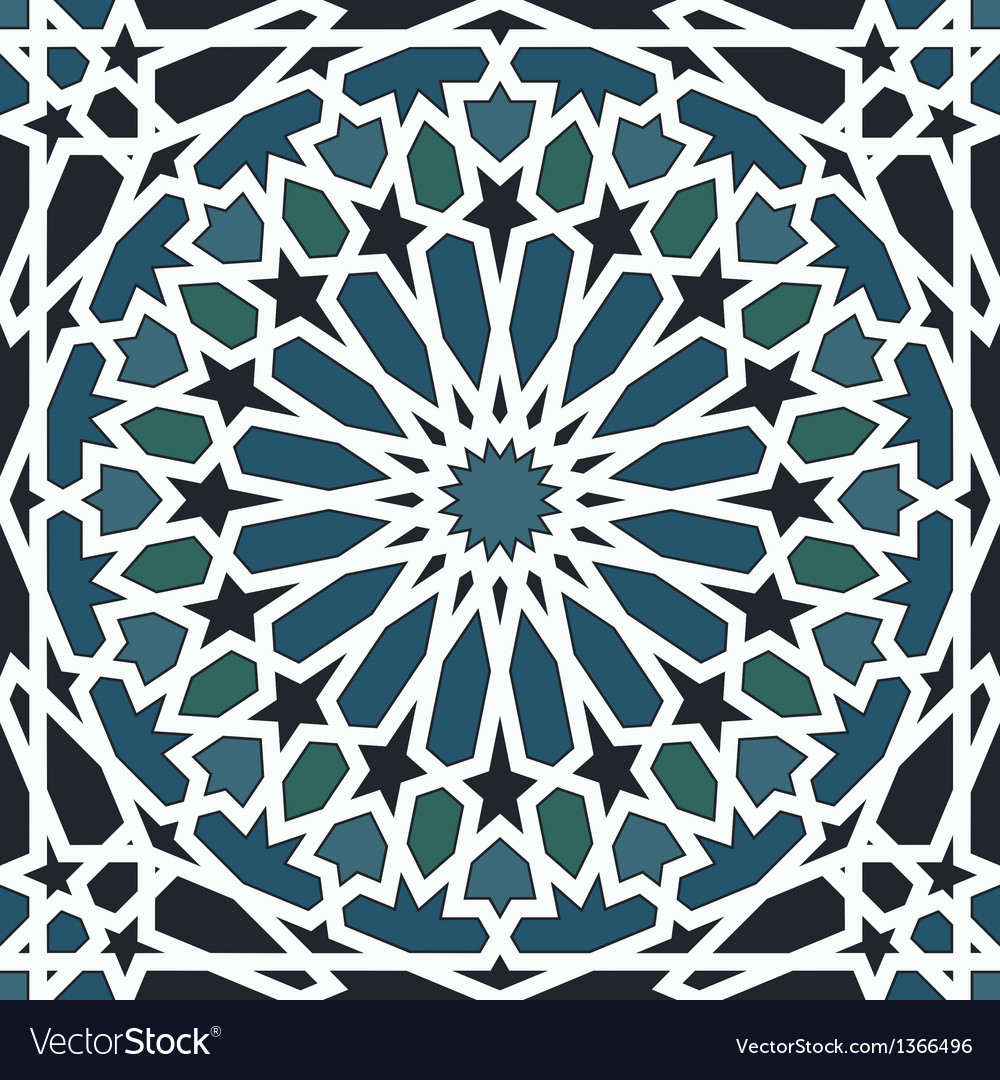 Arabesque seamless pattern in blue and black vector | Price: 1 Credit (USD $1)