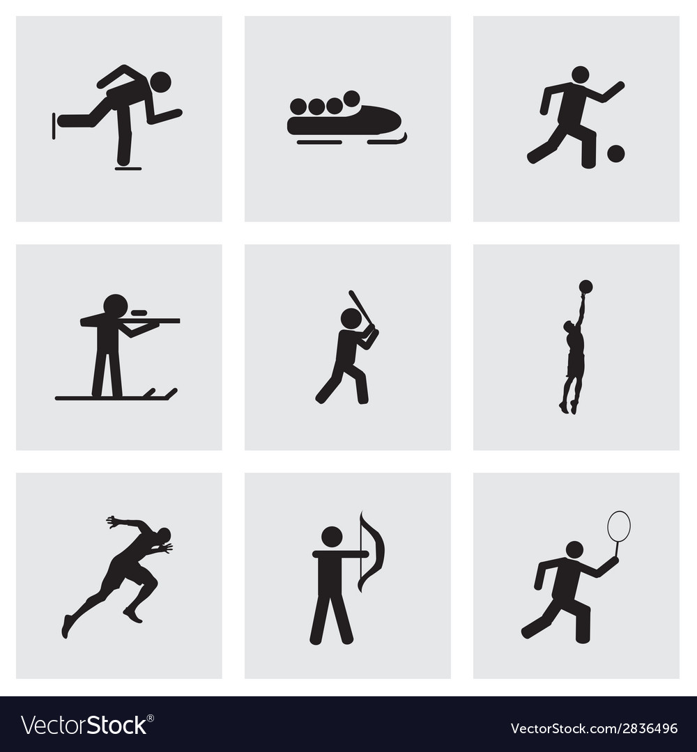 Black sport icons set vector | Price: 1 Credit (USD $1)