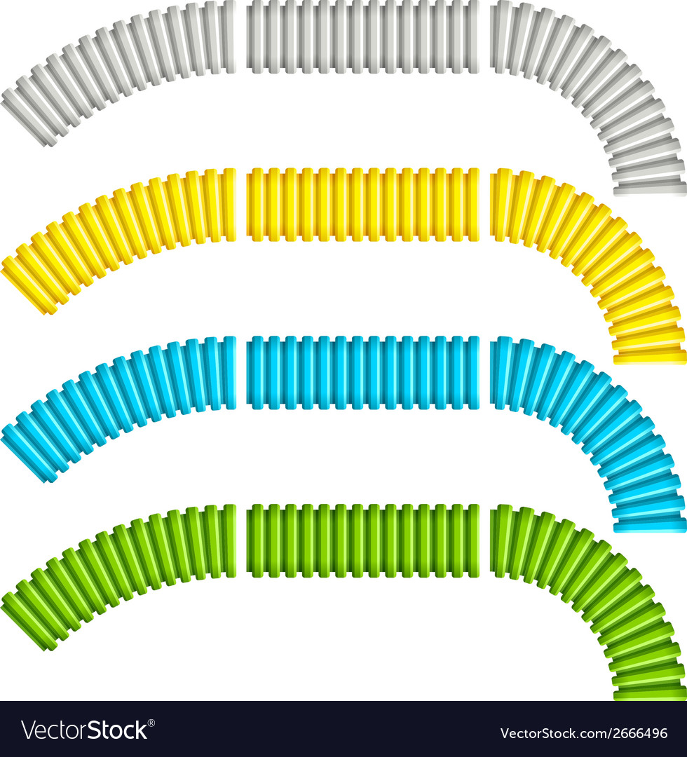 Colored corrugated flexible tubes vector | Price: 1 Credit (USD $1)