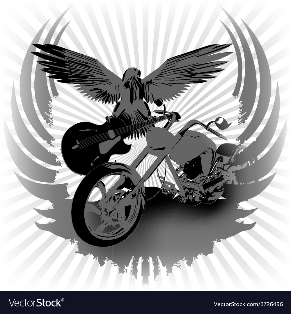 Rock n roll background and chopper vector | Price: 3 Credit (USD $3)
