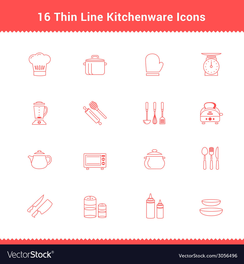 Set of thin line stroke kitchenware icon vector | Price: 1 Credit (USD $1)