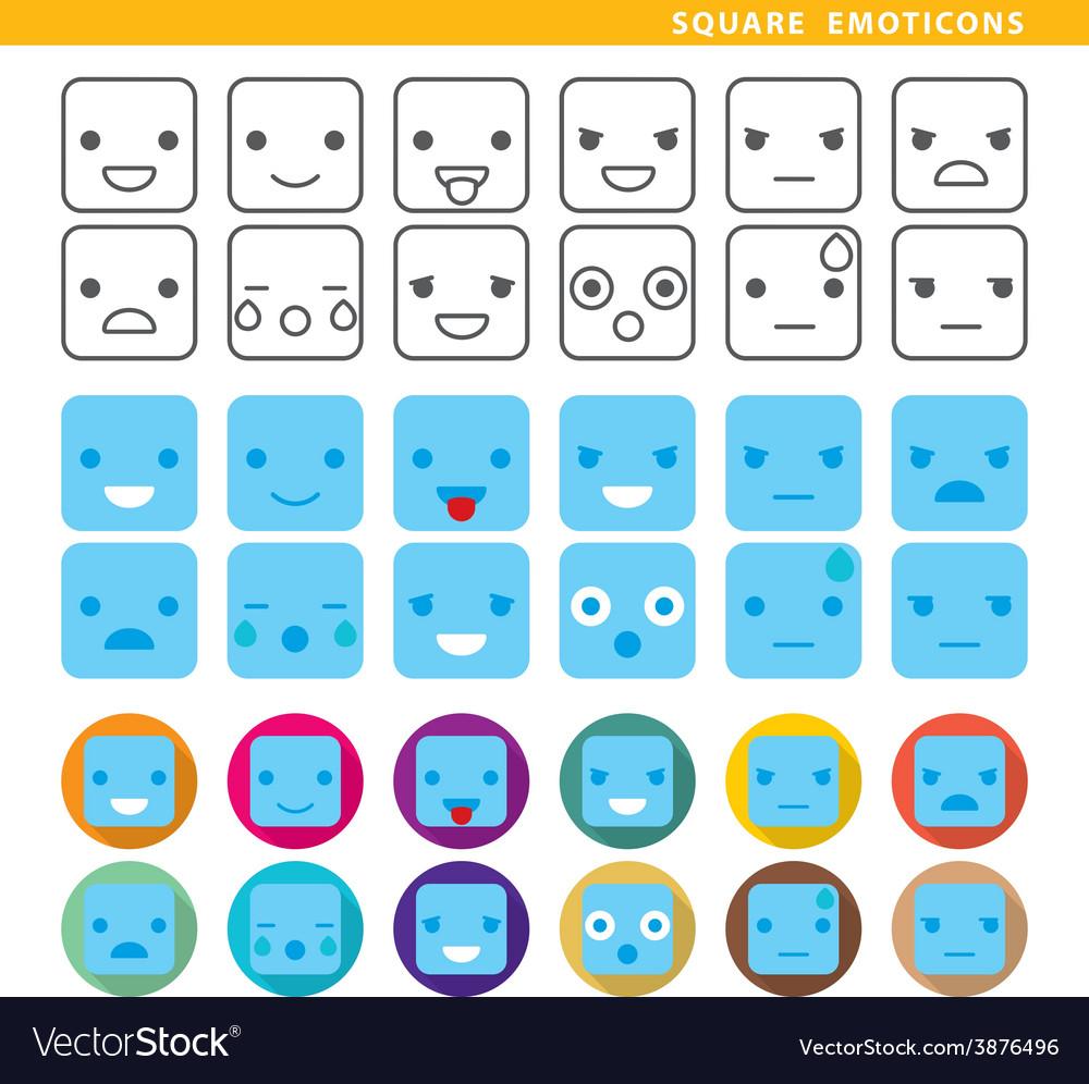 Square emoticons vector | Price: 1 Credit (USD $1)