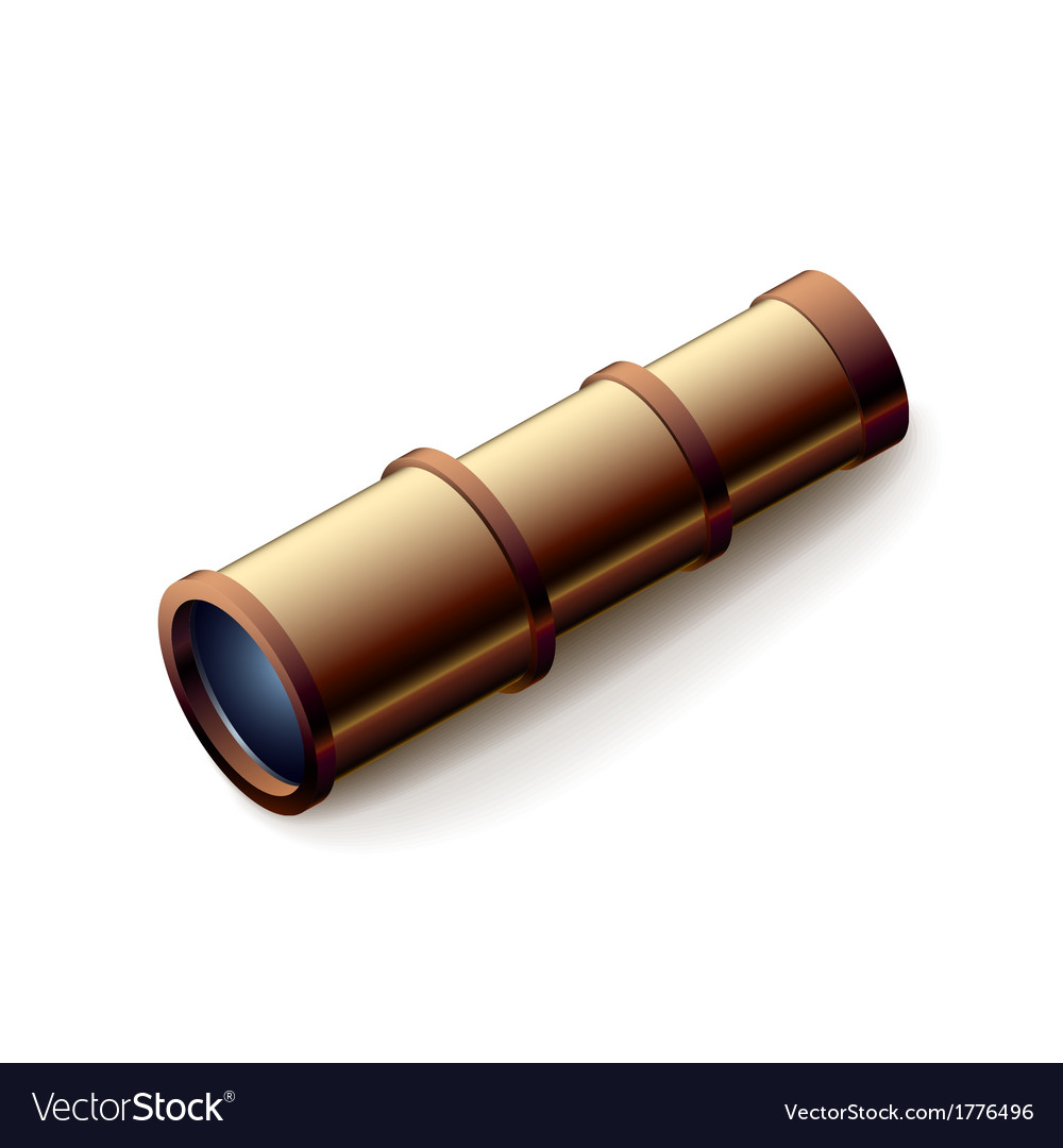 Vintage spyglass closeup isolated on white vector | Price: 1 Credit (USD $1)
