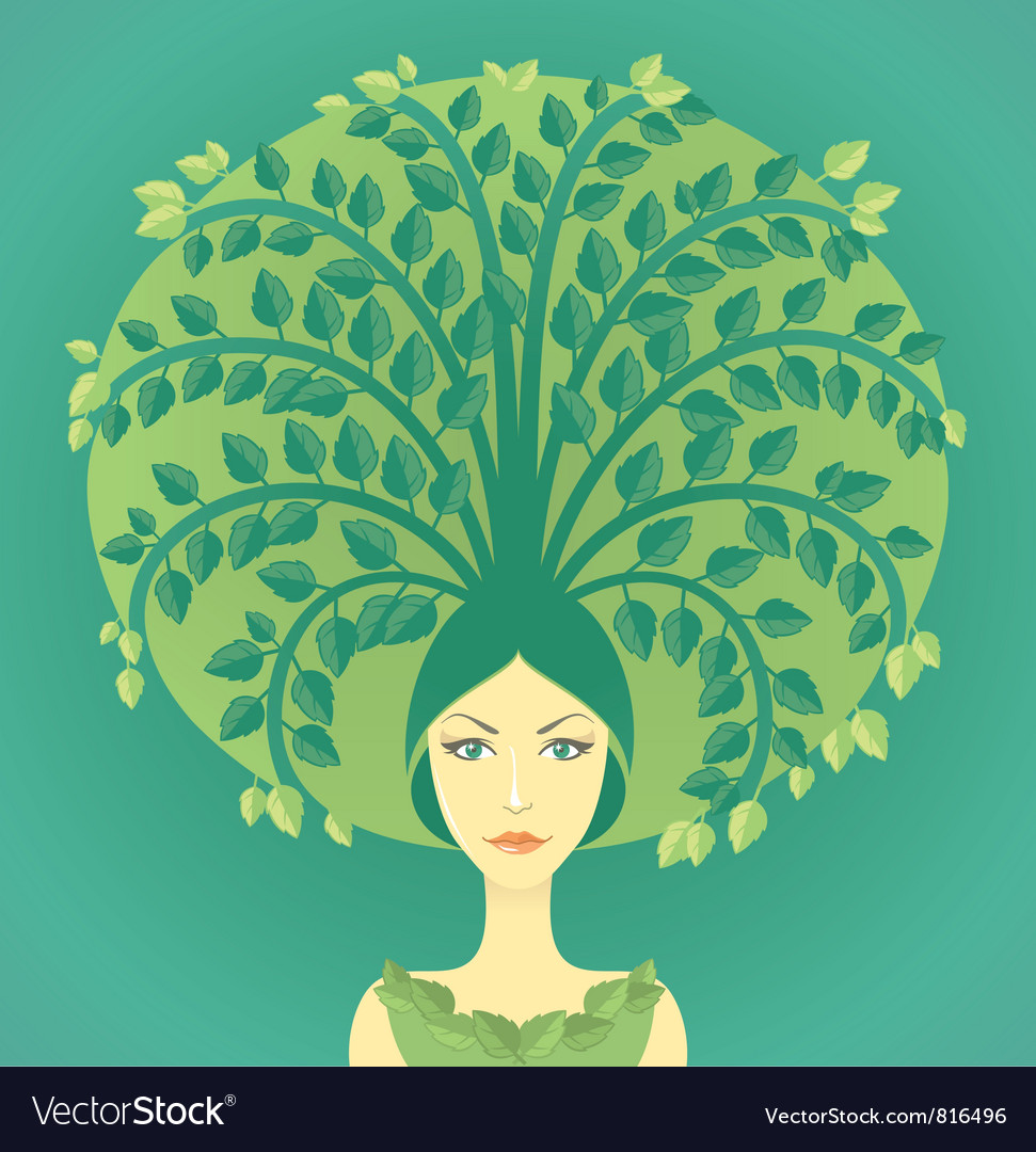 Woman with tree vector | Price: 3 Credit (USD $3)