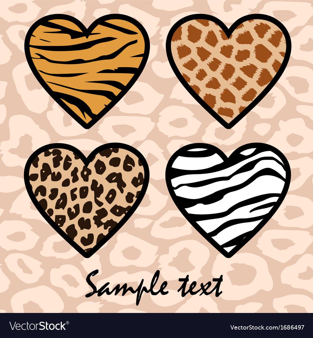 Animal print hearts vector