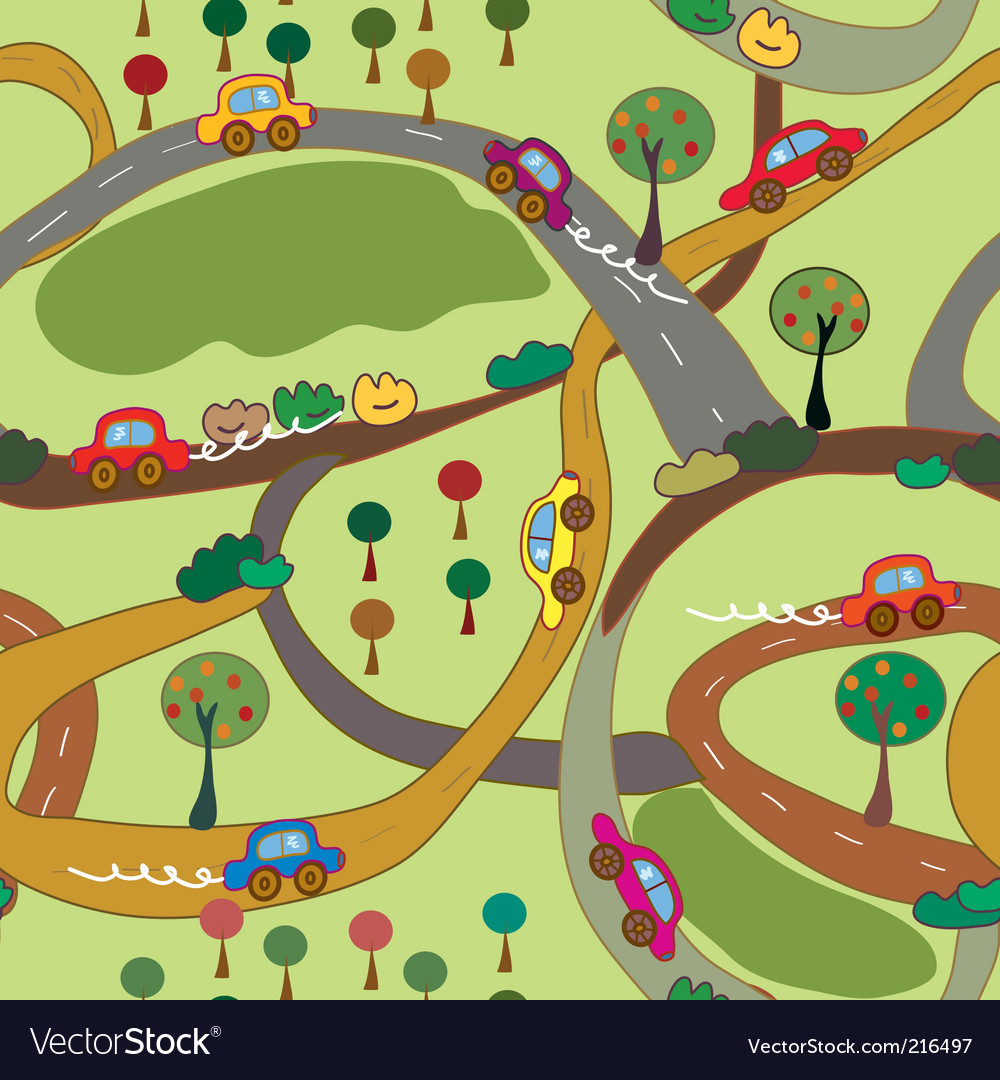 Cartoon seamless pattern with cars vector | Price: 1 Credit (USD $1)