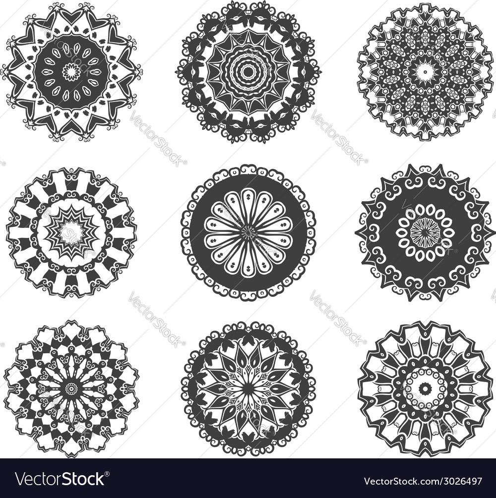 Circle vignette lace decorations set vector | Price: 1 Credit (USD $1)