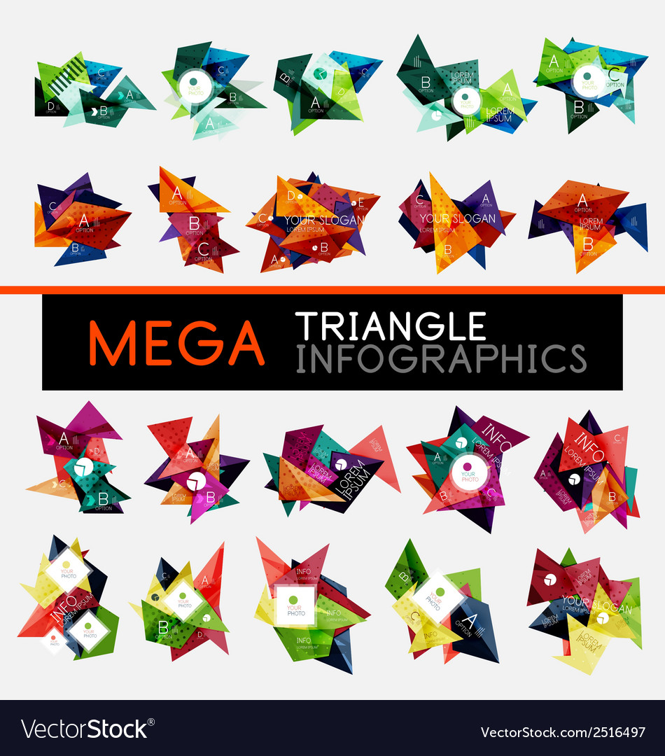 Collection of triangle infographic layouts vector | Price: 1 Credit (USD $1)