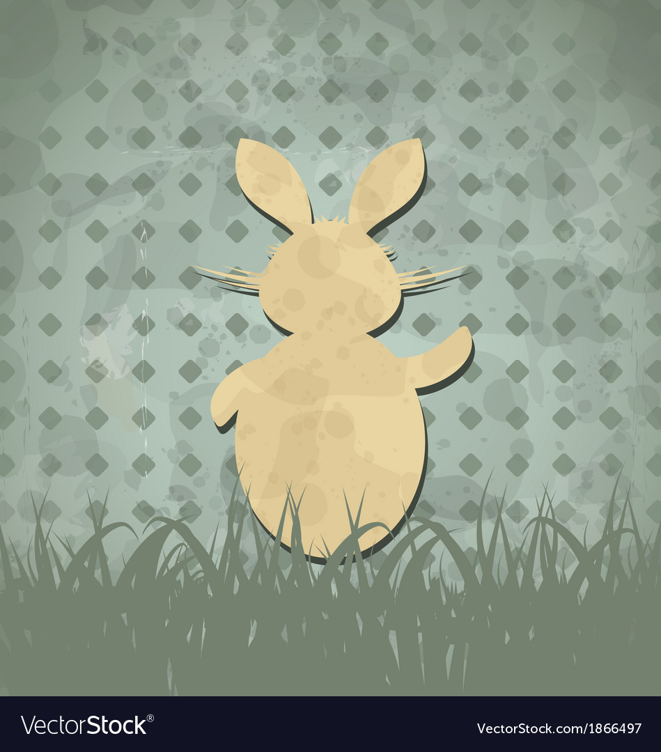 Easter happy vintage poster with rabbit and grass vector | Price: 1 Credit (USD $1)