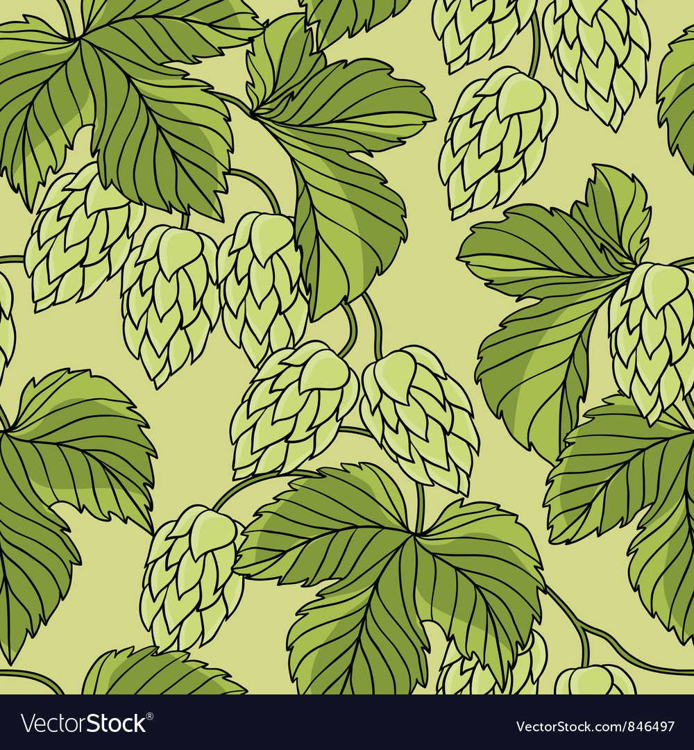 Hop ornament on green grunge background vector | Price: 1 Credit (USD $1)