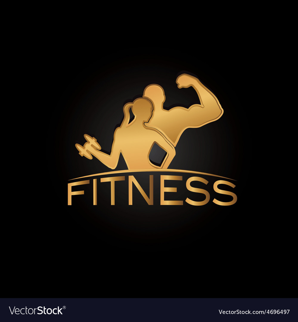 Man and woman of fitness golden silhouette vector | Price: 1 Credit (USD $1)