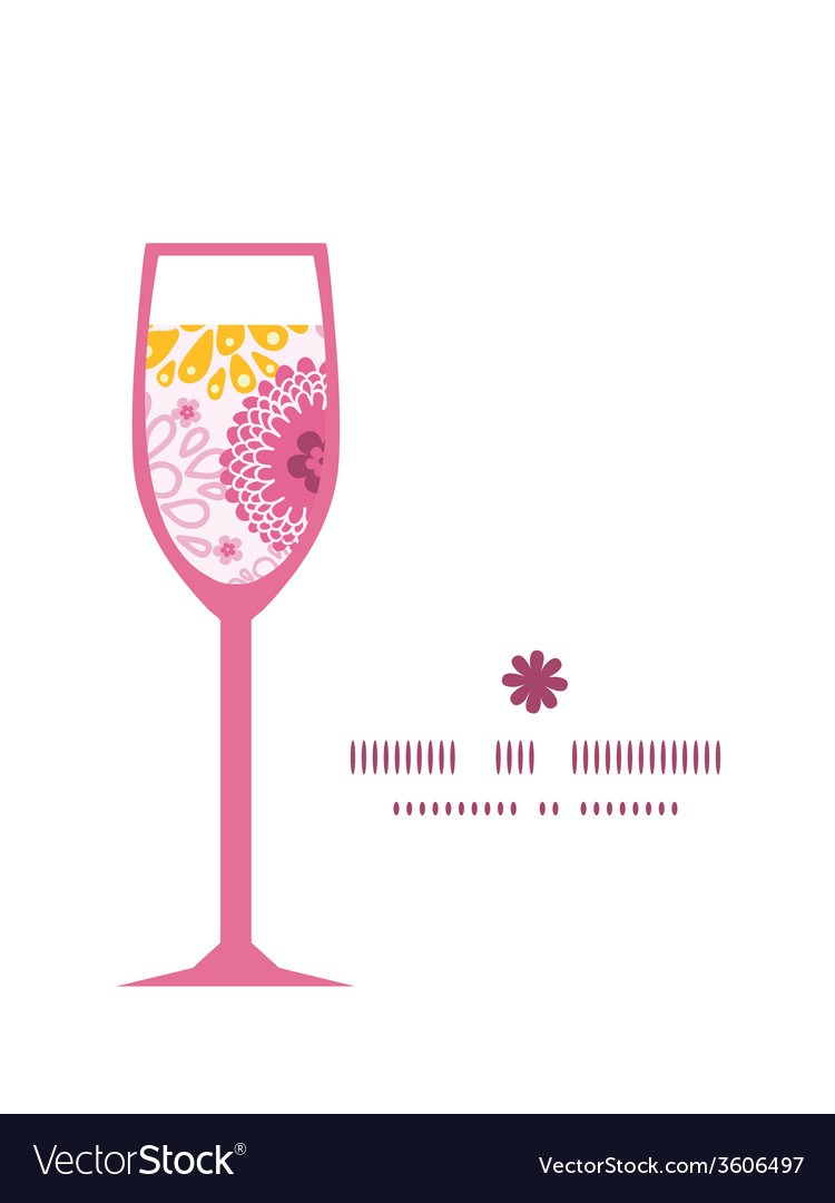 Pink field flowers wine glass silhouette pattern vector | Price: 1 Credit (USD $1)