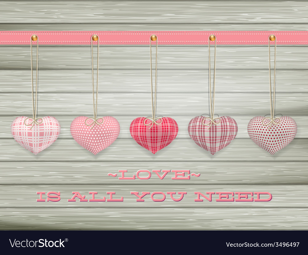 Red hearts hanging over old wood eps 10 vector | Price: 1 Credit (USD $1)