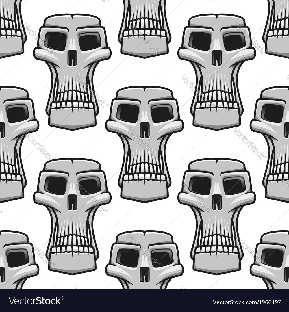 Seamless pattern of spooky halloween skulls vector | Price: 1 Credit (USD $1)