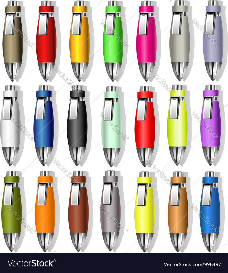 Souvenir color pens vector | Price: 1 Credit (USD $1)