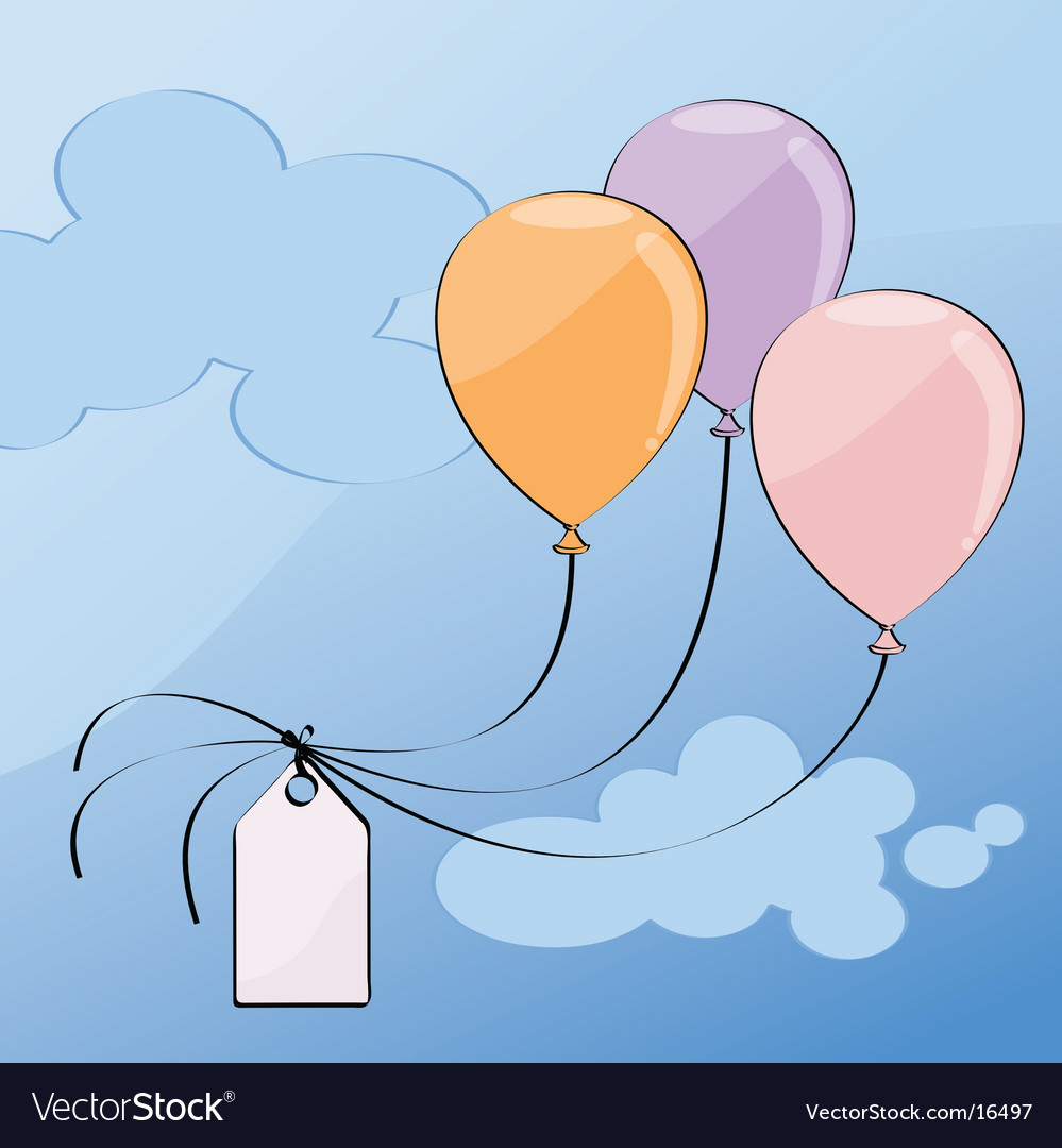 Three balloons pastel color vector | Price: 1 Credit (USD $1)