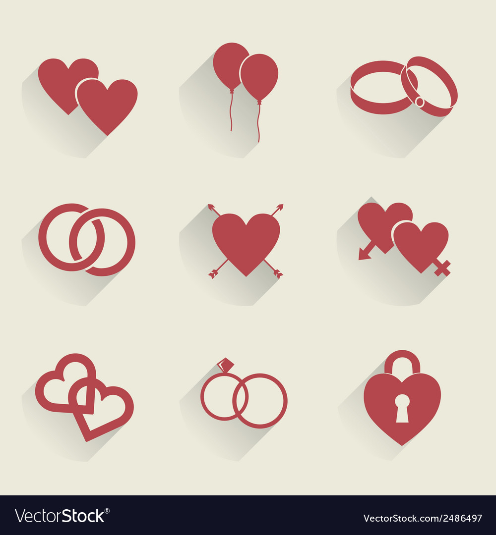 Wedding icons set vector | Price: 1 Credit (USD $1)