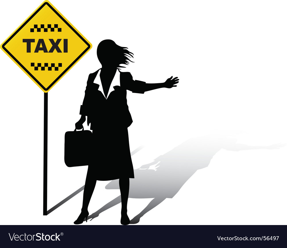 Woman wait taxi vector | Price: 1 Credit (USD $1)