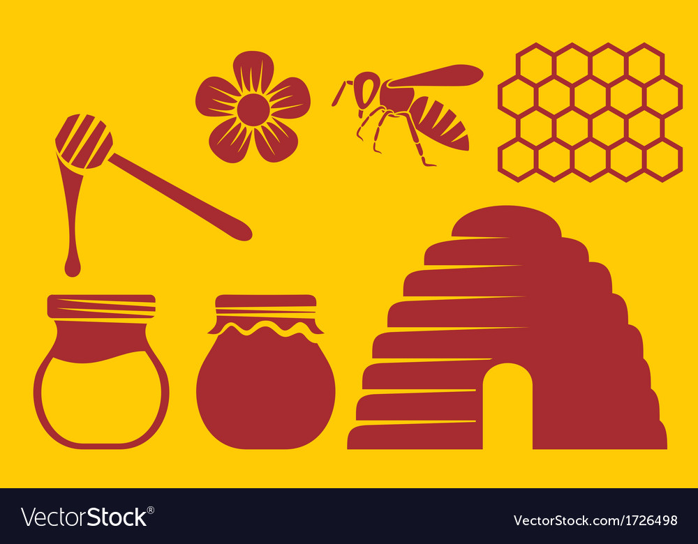 Bee and honey icons vector | Price: 1 Credit (USD $1)
