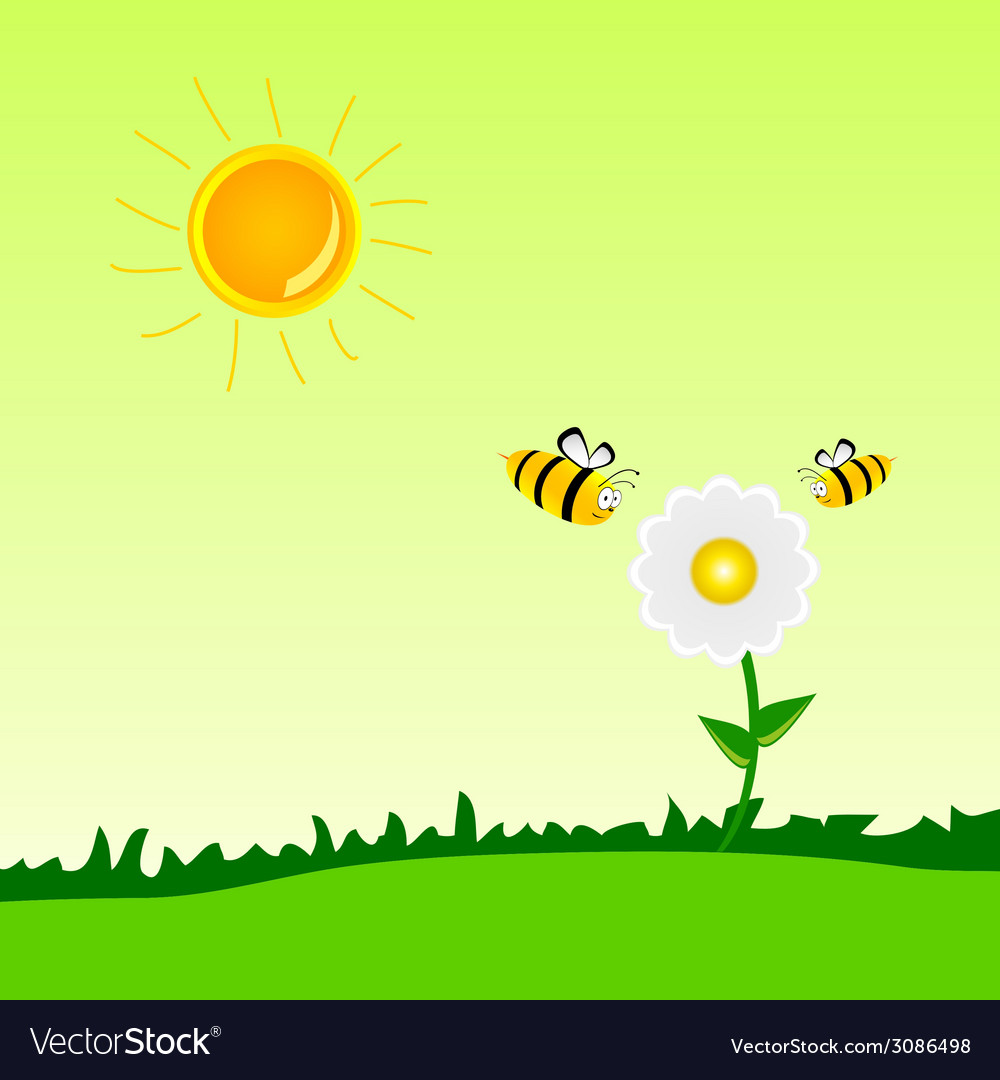 Bee with flower art vector | Price: 1 Credit (USD $1)