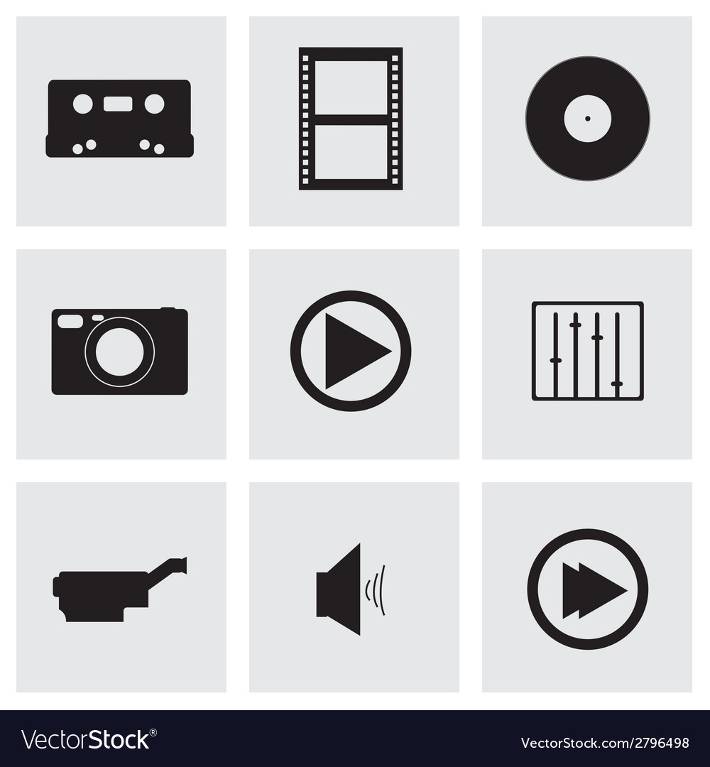 Black media icons set vector | Price: 1 Credit (USD $1)