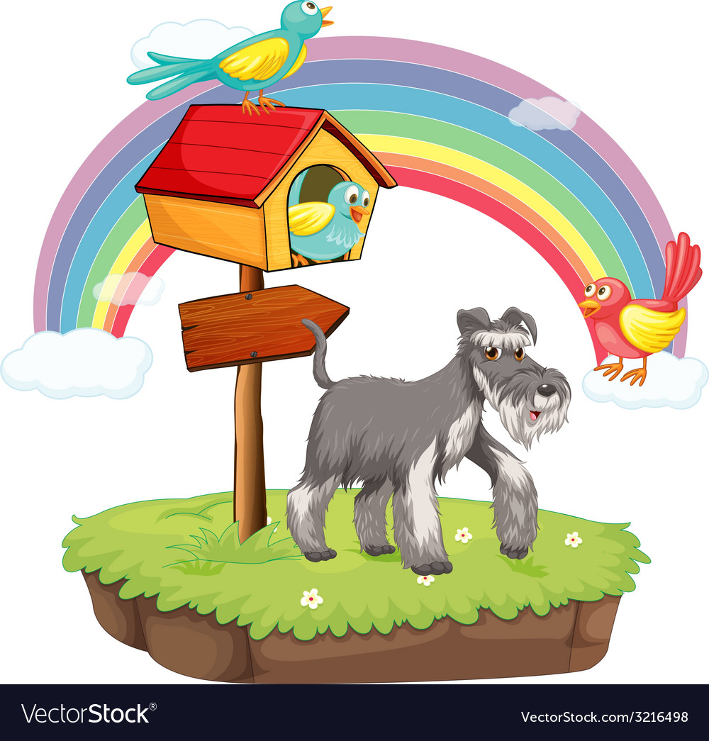 Dog and birdhouse vector | Price: 3 Credit (USD $3)